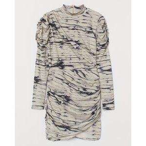 H&M BEIGE GRAY TIE DYE BODYCON RUCHED DRESS L